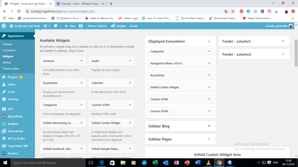 Widgets on a WordPress blog