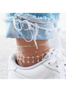 metal gold unique anklets