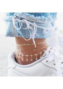 metal gold unique anklets