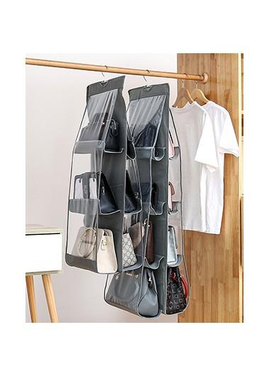 Hanging three layer grey storage bag