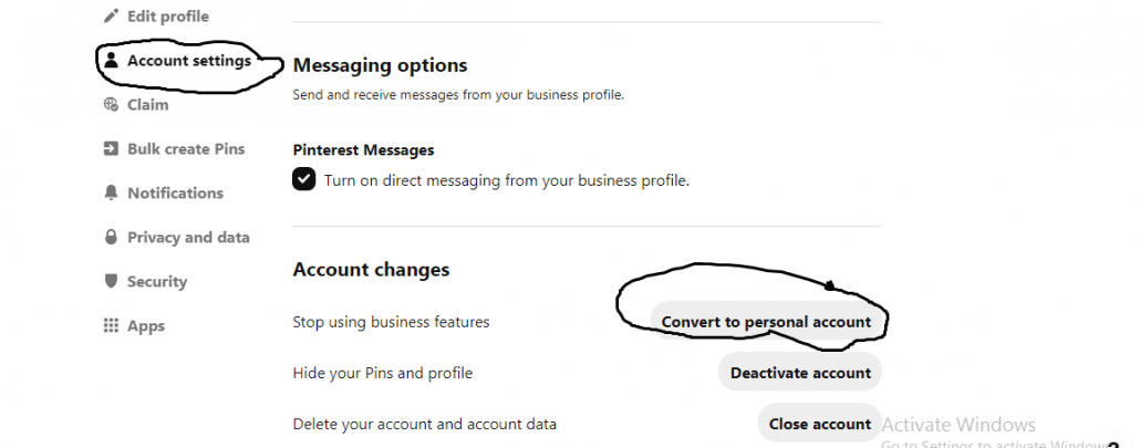how to change to a Pinterest business account.