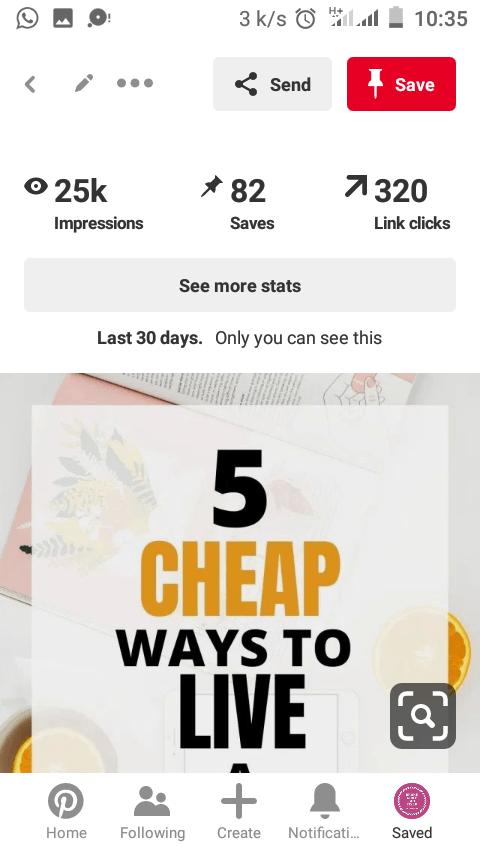 screenshot of Pinterest clicks