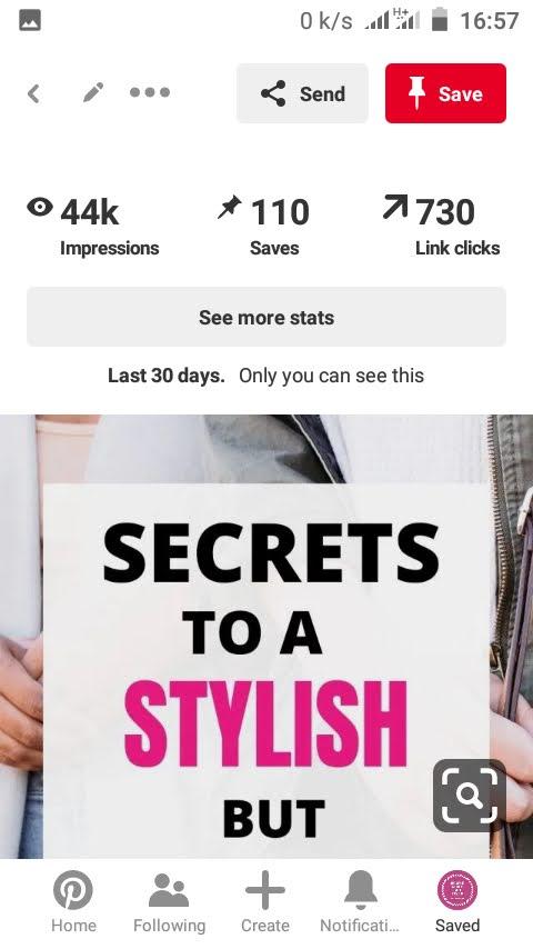 screenshot of Pinterest pins that performed well