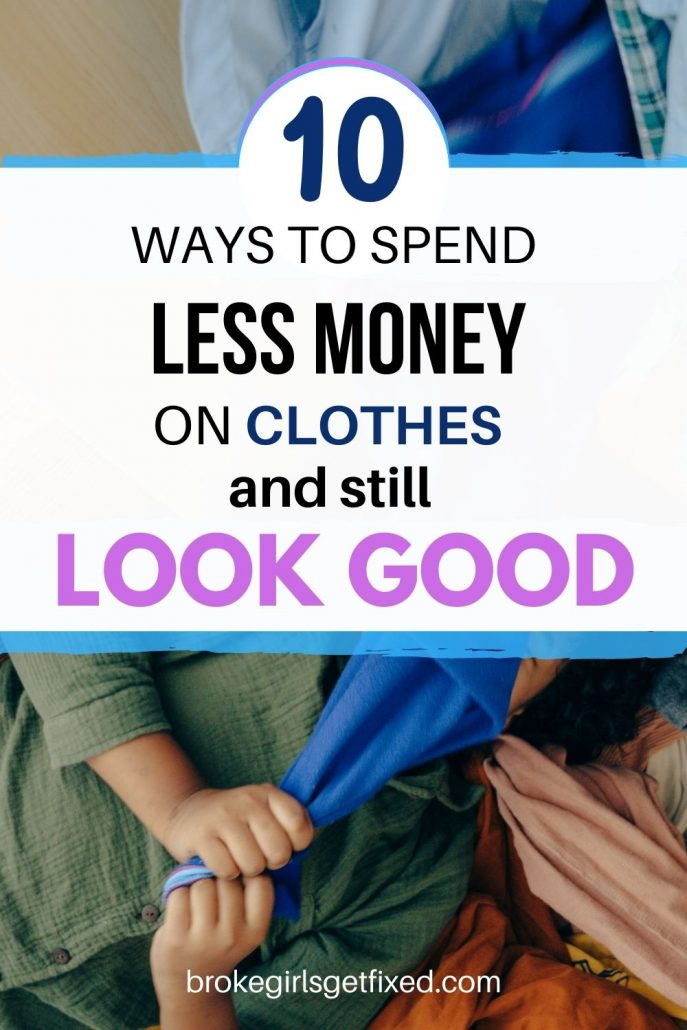 girl in a closet spending less money on clothes