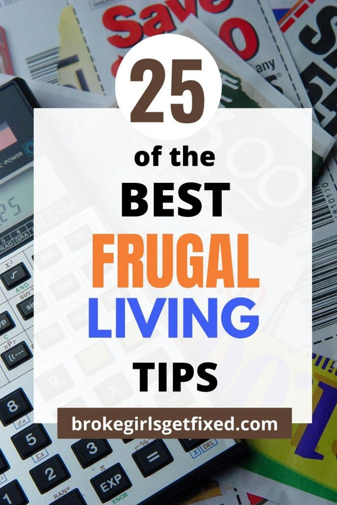 Pinterest pins on 25 frugal living tips